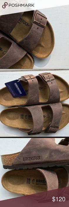 Arizona Birkenstocks NWT Arizona Brown Leather Sandals by Birkenstock {size 38} Birkenstock Shoes Sandals