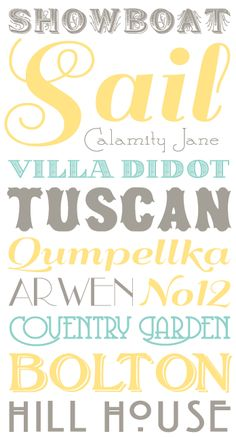 Free Fonts - Hey Casey, wouldn't it be nice to use these fonts in more or less these colors to make a sign for Wyatt's room?  With boy appropriate words of course.