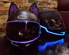 Bell Motorcycle Helmet Purple Kitty with Cat Ear Helmet Accessory Womens Motorcycle Helmets, Motorcycle Bike, Motorcycle Jackets, Purple Motorcycle Helmet, Cool Motorcycles, Kawasaki Motorcycles, Motorcycles For Women, Victory Motorcycles, Vintage Motorcycles