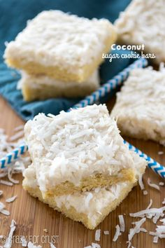 Coconut Sugar Cookie Bars made with coconut oil!