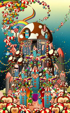 Temple of candyland...sweet sweet candyland...come join the candynuns and hum to the tune of sweet melodies...(even the musical notes are made of candy!) Everything here is edible..candy clouds...j...