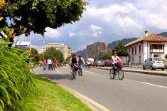 Bogota, Colombia - Ciclovia and Spanish colonial architecture stock photo