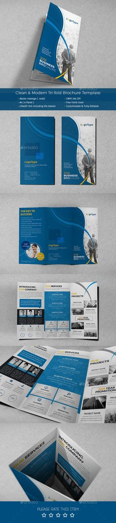 Clean & Modern Tri-fold Brochure Template #design Download: http://graphicriver.net/item/clean-modern-trifold-brochure-template/12323530?ref=ksioks