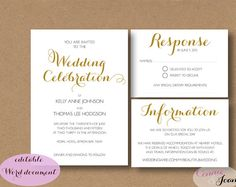Wedding invitation suite - printable wedding Invitation, RSVP and info template Edit, print and trim. INSTANTLY DOWNLOAD AND ADD YOUR OWN TEXT  5 x