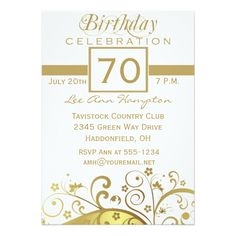 "70th - 79th Birthday Party Invitations 5"" X 7"" Invitation Card"