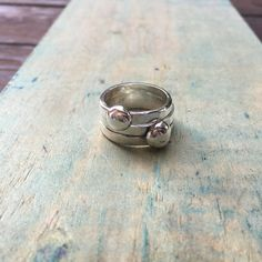 FREESHIP, his and her ring set, matching pebble rings, couples rings, boho ring set, handmade rings, boho thumb ring, stackable silver rings by SilverPinions on Etsy