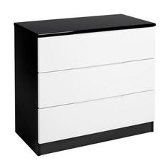 Legato White and Black 3 Drawer Chest Bedroom Drawers, Dresser Drawers, Modern Chest Of Drawers, Drawer Storage Unit, Dressers For Sale, 3 Drawer Chest, Contemporary Style, Living Spaces, The Unit