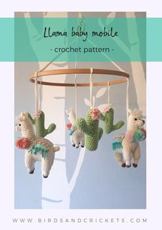 Make your own amazing Llama baby mobile with this simple crochet pattern. This crochet mobile would be the perfect addition to a boho styled baby's nursery. It features three cute crochet Llamas with a colorful striped rug on their back and three pompom Crochet Simple, Easy Crochet Patterns, Cute Crochet, Crochet Crafts, Baby Patterns, Crochet Projects, Sewing Projects, Crochet Baby Mobiles, Crochet Mobile