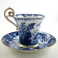 ROYAL CROWN DERBY 'Blue Mikado' circa 1916, demitasse cup and saucer by helen