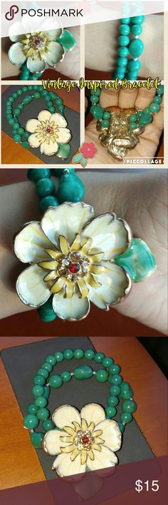 Vintage Inspired Flower Bracelet This pretty piece has only been worn a handful of times but is way too pretty to sit in a jewelry box! Wear with just about any colors; beige, natural, red, greens, etc. Let this bracelet be the statement of dressing down or dressing up! unknown Jewelry Bracelets