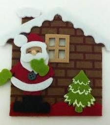 Christmas brown house with santa for Christmas decoration shop online Rs 350