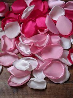 Hot pink bright pink-Handmade satin fabric flower petals- wedding toss flower girl satin petals aisle decor bendy blossoms bendyblossoms
