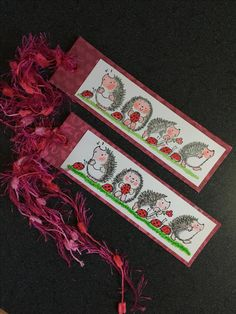 Penny Black Hedgehogs and Ladybugs - bookmarks