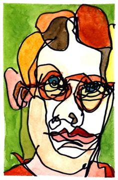 'Traditional Blind Contour' pen and watercolor self-portrait by San Francisco Bay Area artist Julia Kay. (Click to view same image larger.)