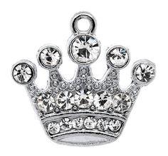 4 Rhinestone Crystal PRINCESS CROWN Charms Silver by SmartParts, $5.99