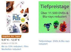 """Amazon: Tiefpreistage für DVDs und Blu-rays bis Sonntag https://www.discountfan.de/artikel/technik_und_haushalt/amazon-tiefpreistage-fuer-dvds-und-blu-rays-bis-sonntag.php Amazon hat gleich zum Beginn des neuen Jahres wieder """"Tiefpreistage"""" für zahlreiche Filme ausgerufen. Im Rahmen der Aktion sind 11.500 DVDs und Blu-rays im Preis reduziert. Amazon: Tiefpreistage für DVDs und Blu-rays bis Sonntag (Bild: Amazon.de) Die Tiefpreistage von Amazon laufen n... #B"""