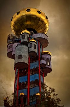 The Kuchlbauer Tower is an observation tower designed by Austrian architect Friedensreich Hundertwasser on the grounds of the Kuchlbauer Brewery in Abensberg, a town in Lower Bavaria in Germany. Photo by  Elmar Bayer]