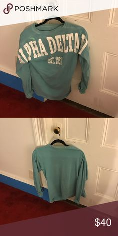 Comfort Colors Alpha Delta Pi Blue Spirit Jersey Size small. Great for a sorority member. A bit of fading from wear/laundry Tops Tees - Long Sleeve