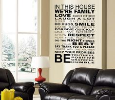 Wall Art Decal  IN THIS HOUSE Creative Wall Decor, Traditional Wallpaper, Removable Wall, Family Love, Wall Quotes, Decorating Your Home, Vinyl Decals, Your Design, How To Remove