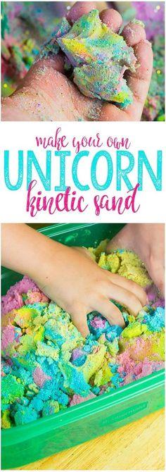Make your own Unicorn Kinetic Sand! A fun and color sensory activity for preschool kids! #unicornsand #DIYsensorybins