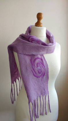 Check out this item in my Etsy shop https://www.etsy.com/uk/listing/290934469/lavender-purple-felted-scarf-with-roses