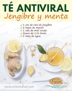 Té antiviral con jengibre y menta Some foods have been related to prevention or an improvement in the symptoms of Healthy Juices, Healthy Smoothies, Healthy Drinks, Healthy Tips, Healthy Eating, Healthy Recipes, Health Diet, Health And Nutrition, Sumo Natural