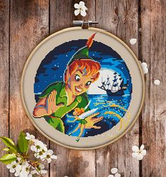 This is modern cross-stitch pattern of Peter Pan for instant download. Nice and joyful version of Disney cartoon. A cool tip to decorate a kids room.  You will get 7-pages PDF file, which includes: - main picture for your reference; - colorful scheme for cross-stitch; - list of DMC thread colors (instruction and key section); - list of calculated thread length  The size of the picture is 6.93 X 7.50 (17.60 cm X 19.05 cm) - 120 X 120 stitches on Aida 14 count  It is a digital pattern and will…