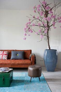 canape en cuir marron foncé, coussins décoratifs sur le canapé, tapis bleu clair