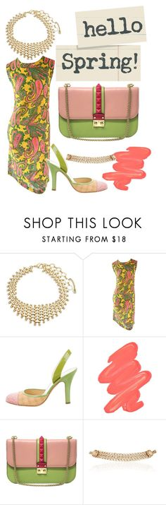 """""""hello spring #spring #dress #choker #beauty #color #colored"""" by ballerina-sopiana ❤ liked on Polyvore featuring Amrita Singh, Prada, Obsessive Compulsive Cosmetics, Valentino and Maison Mayle"""