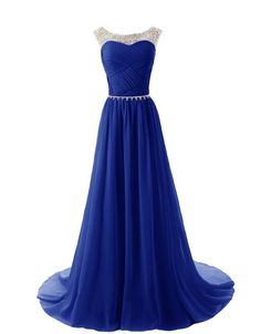 Cheap Price Vestido Do Baile Chiffon Long Prom Dress 2016 Rhinestones Elegant Royal Blue Evening Dress Vestidos De Festa