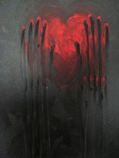 "Acrylic Canvas Painting Ideas | Craft Ideas / ""Hanging On"" painting, acrylic on canvas 24""X36"" // (If we're going for a Valentine theme, bloody hearts might be fun to play around with as an idea bc ZOMBIES?)"