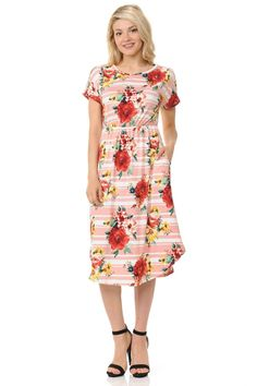 0bbdb188fd3 iconic luxe Women s Short Sleeve Flare Midi Dress with Pockets in Solid and  Floral - Made in USA at Amazon Women s Clothing store