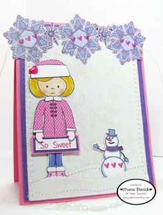Created by Maria Patrick for Paper Sweeties February Inspiration Challenge.  Stamps used are Sophie, Let It Snow(Sophie's outfit), Holly Days(snowflakes), Snow Time(snowman), Mason Jar(tiny hearts).  Dies used are Sweet Cuts-Sophie, Sweet Cuts-Holly Days and Sweet Cuts-Snow Time from www.papersweeties.com.