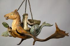 horse with fishtail and nymph. a unique piece from ca. 1880.