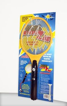 "BugKwikZap TM (Trademarked) Bug Zapper Electric Fly Swatter / Model - Standard / Standard Quality / 2300 Volts / 2 AA Batteries / Light / 1PK by BugKwikZap. $7.69. Flying insects, we have been annoyed since day one by these. Running around trying to find a means to squash them! Now this patented Electric Fly Swatter kills/electrocutes all flying insects such as mosquito's, flies, gnats on contact, ""just by waving the bug swatter at them."" It looks like a tennis racket,..."