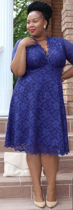 Plus Size Mademoiselle Lace Dress - Sapphire Blue at Curvalicious Clothes #plussize #plussizefashion
