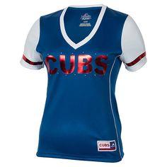 Women's Majestic Chicago Cubs MLB Curveball Babe T-Shirt - M757CHC RYL | Finish Line