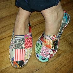 If the Shoe Fits...Make your own Patchwork Shoes! | A Piece of Cloth Vintage Fabric Merchants    http://apieceofcloth.com.au/blogs/a-piece-of-cloth-blog/16517177-if-the-shoe-fits-make-your-own-patchwork-shoes
