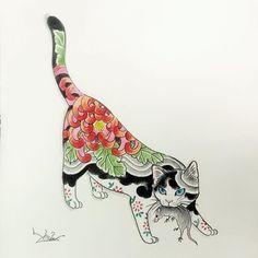 Kazuaki 'Horitomo' Kitamura - Tattoos and body art - Illustrations, Illustration Art, Jagua Henna, Frida Art, Japanese Cat, Traditional Japanese Tattoos, Cat Tattoo, Cat Drawing, Crazy Cats