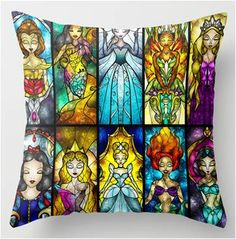 Disney Princess Throw Pillow Featuring 10 Princesses