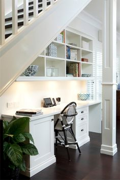 Built in desk under stairs that space under the stairs home dreams basement office basement and . built in desk under stairs attractive home Basement Office, Office Nook, Home Office Space, Home Office Decor, Home Decor, Basement Apartment, Apartment Ideas, Basement Stairs, Small Office