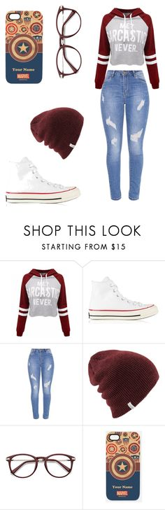 """Chill Collage Chic"" by punkgang4life on Polyvore featuring WithChic, Converse and Marvel"
