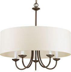 Progress Lighting P4217-20 5-Light Chain Hung Fixture Off-White Linen Fabric transitional-chandeliers