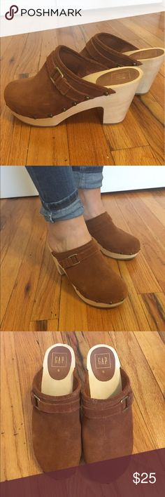 GAP Brown suede wooden clogs These clogs are in great color and condition. I have worn these once. Very comfortable and cute! The heel is 3 3/4 inches and the front platform is 1 inch. GAP Shoes Mules & Clogs