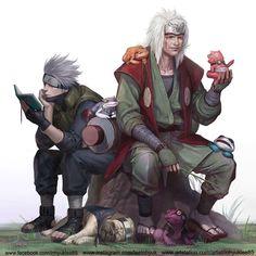 Jiraiya and Kakashi by InHyuk Lee Kakashi Hatake, Naruto Shippuden Sasuke, Jiraiya And Tsunade, Naruto Shippuden Characters, Sasuke Sakura, Anime Characters, Fan Art Naruto, Anime Naruto, Anime Guys