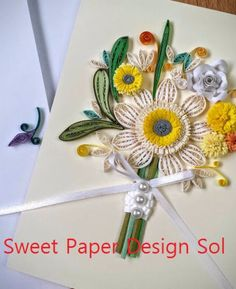 Paper Quilling beautiful Flower Bouquet with Rings Wedding