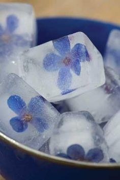 Edible flowers, try to make an ice bowl embedded with flowers