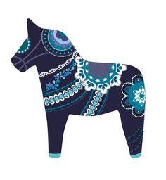 midnight dala horse Art Print