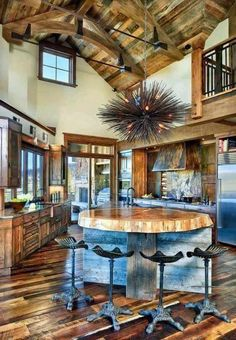 Huge cabin kitchen with vaulted ceilings