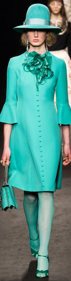 Gucci - Fall Ready to Wear 2016 - I am not fond of the hat, or the bell sleeves, but I love the color, the lines of the dress, the covered buttons and the hose!